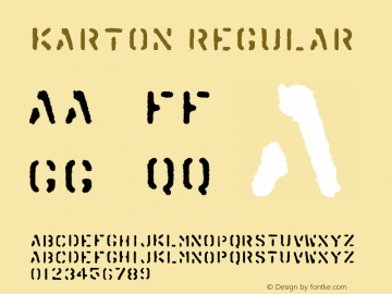 Karton Regular Version 001.000 Font Sample
