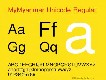 MyMyanmar Unicode Regular Version 9.005 Font Sample