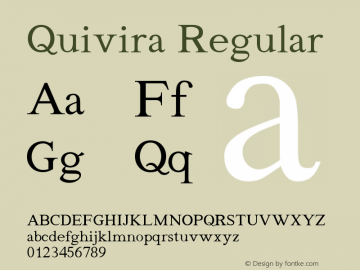 Quivira Regular Version 2.6 Font Sample