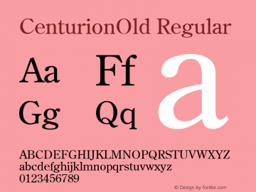 CenturionOld Regular v1.00 Font Sample