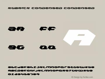 Kubrick Condensed Condensed 001.000 Font Sample