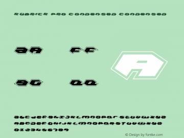 Kubrick Pro Condensed Condensed 001.000 Font Sample