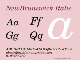 NewBrunswick Italic v1.0c Font Sample