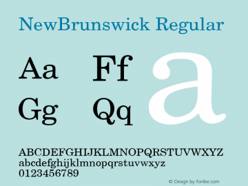 NewBrunswick Regular v1.0c Font Sample