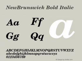 NewBrunswick Bold Italic 1.0 Tue Nov 17 22:54:57 1992 Font Sample