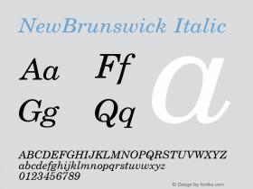 NewBrunswick Italic 1.0 Tue Nov 17 22:50:33 1992 Font Sample
