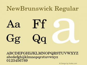 NewBrunswick Regular 001.003 Font Sample