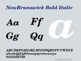 NewBrunswick Bold Italic 001.003 Font Sample