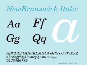 NewBrunswick Italic 001.003 Font Sample