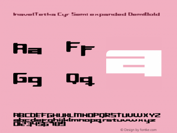 InavelTetka Cyr Semi-expanded DemiBold Version 1.0; 1999; initial release Font Sample