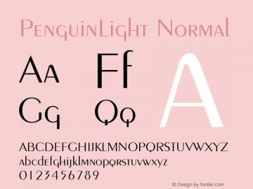 PenguinLight Normal 1.0 Wed Nov 18 11:41:56 1992 Font Sample