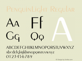 PenguinLight Regular v1.0c Font Sample