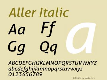 Aller Italic Version 1.00 Font Sample