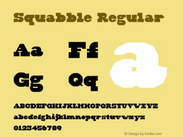 Squabble Regular Version 1.0 Font Sample