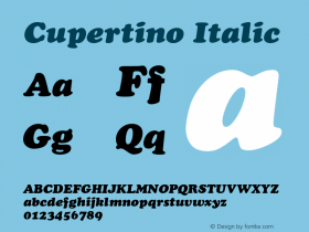 Cupertino Italic v1.0c Font Sample