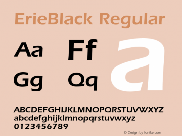 ErieBlack Regular 001.003 Font Sample