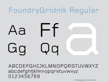 FoundryGridnik Regular 001.000 Font Sample