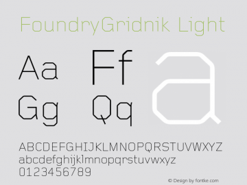 FoundryGridnik Light 001.000 Font Sample