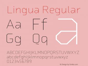 Lingua Regular Version 1.000;PS 001.001;hotconv 1.0.38图片样张