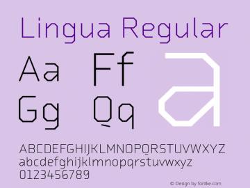Lingua Regular Version 1.000;PS 001.000;hotconv 1.0.38图片样张