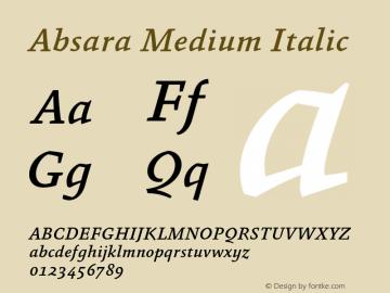 Absara Medium Italic 004.460 Font Sample