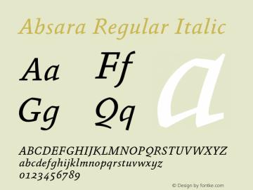 Absara Regular Italic 004.460 Font Sample