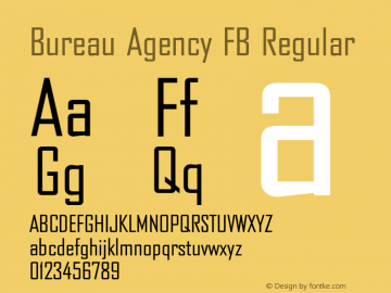 Bureau Agency FB Regular Version 1.100;PS 001.001;Core 1.0.38 Font Sample