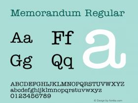 Memorandum Regular v1.0c Font Sample