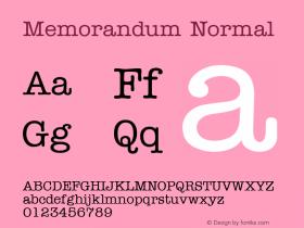 Memorandum Normal 1.0 Wed Nov 18 10:39:11 1992 Font Sample