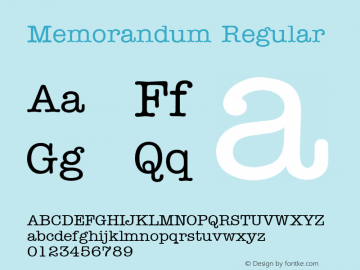 Memorandum Regular 001.003 Font Sample