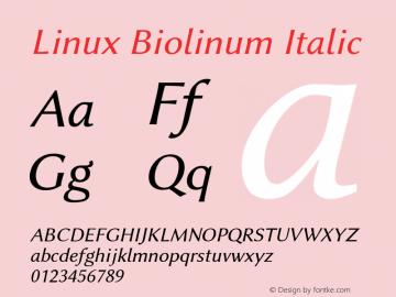 Linux Biolinum Italic Version 1.1.3 ; ttfautohint (v0.9)图片样张