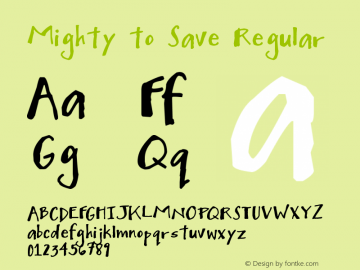 Mighty to Save Regular Version 1.00 February 18, 2009, initial release Font Sample