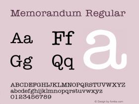 Memorandum Regular 001.003 Font Sample