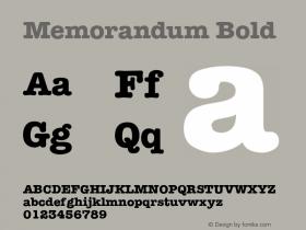 Memorandum Bold v1.0c Font Sample