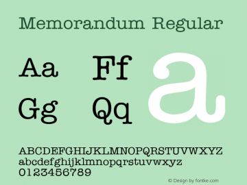 Memorandum Regular v1.0c Font Sample