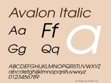 Avalon Italic v1.00 Font Sample