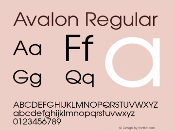 Avalon Regular v1.00 Font Sample