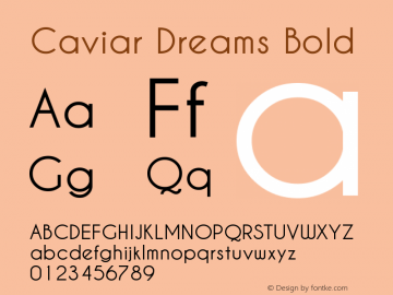 Caviar Dreams Bold Version 2.00 January 17, 2010 Font Sample