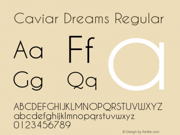 Caviar Dreams Regular Version 3.00 March 2, 2010 Font Sample