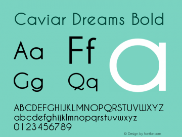 Caviar Dreams Bold Version 3.00 March 2, 2010 Font Sample
