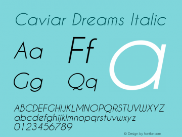 Caviar Dreams Italic Version 3.00 March 2, 2010 Font Sample