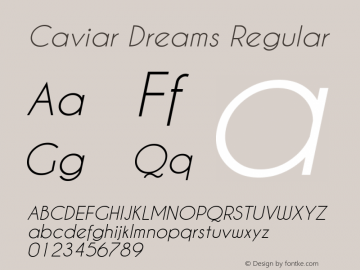 Caviar Dreams Regular Version 2.00 January 17, 2010 Font Sample