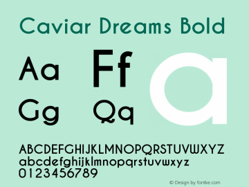 Caviar Dreams Bold Version 4.00 July 10, 2012 Font Sample