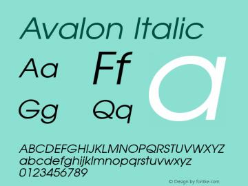 Avalon Italic 1.0 Sat Dec 05 15:22:03 1992 Font Sample
