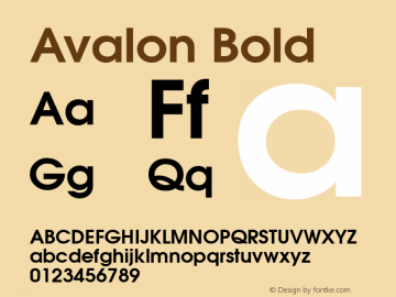 Avalon Bold 1.0 Sat Dec 05 15:20:43 1992 Font Sample