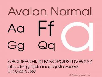 Avalon Normal 1.0 Sun Dec 06 15:44:58 1992 Font Sample