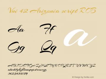 Vni 42 Arizonia script ROB Macromedia Fontographer 4.1.5 8/30/07 Font Sample