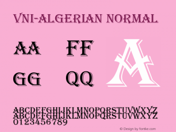 VNI-Algerian Normal 1.0 Mon Jan 03 03:20:42 1994 Font Sample