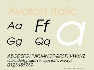 Avalon Italic 001.003 Font Sample