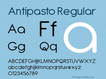 Antipasto Regular Version 2.008 Font Sample